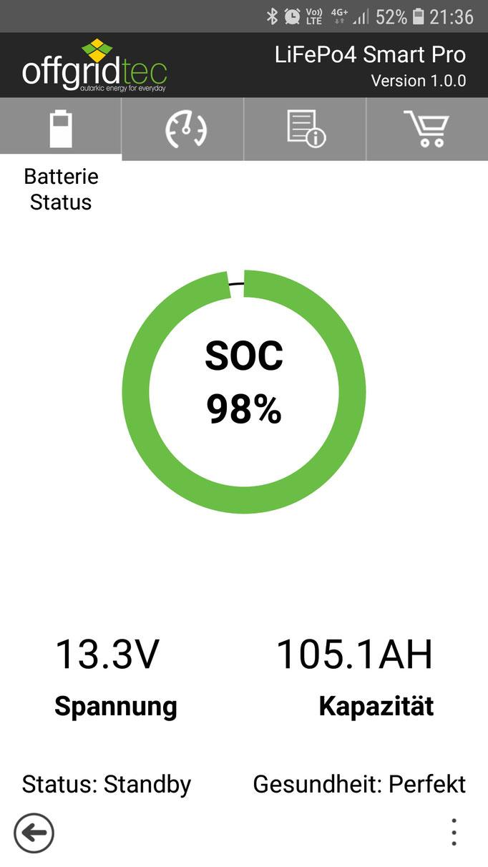offgridtec app LiFePo4 Smart Pro 12/100 Akku 12,8V 1280Wh Akku Viewer Verbraucher Batterie Gewichtsersparnis off road overland #Projektblackwolf