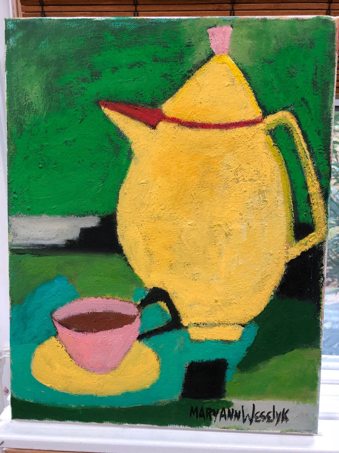 Yellow Coffee Pot / 14 x 11