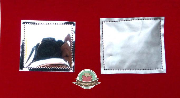 links Spiegelfolie, rechts Kaffeetüte