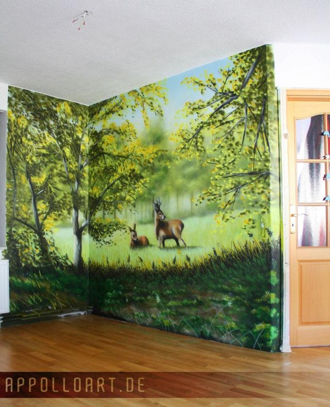 Landschafts Graffiti im Wohnbereich Berlin Brandenburg Innenraumdesign
