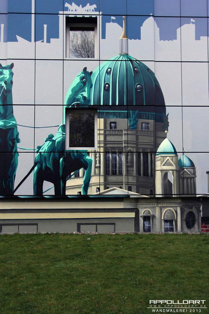 Illusion auf der Wand der Fassadenwand der Studierenden Werke