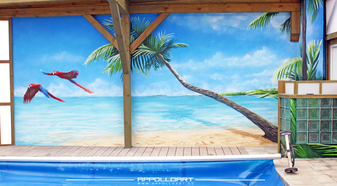 Dschungel Graffiti  3d Malerei Fassade im Innenbereich