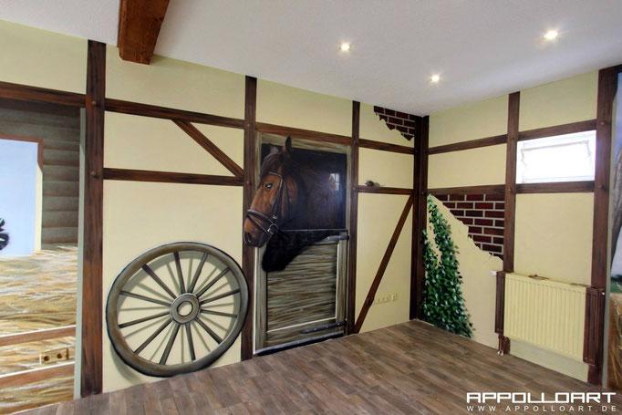 Fachwerk Optik mit Airbrush an die Wände gebracht Bad Freienwalde