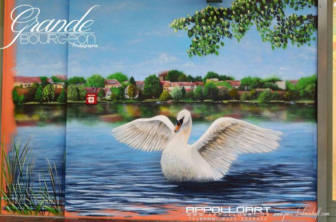 Lanschaftsmalerei auf Fotorealismus mit Pinsel und der Airbrushmaschine für Einkaufscenter Berlin Brandneburg