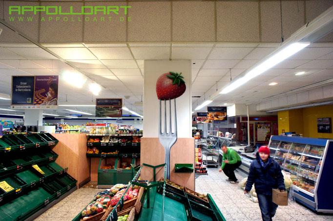Wandbild Obstmotiv Airbrush an der Marktwand