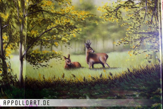 Illusionsmalerei im Schlafzimmer in Eberswalde Biesenthal Lanke durch Graffitikünstler