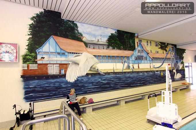 Hotel Fotorealismus im Wellness Sauna Schwimmbereich in der Schwimmhalle Strausberg bei Berlin bemalt und gestaltet