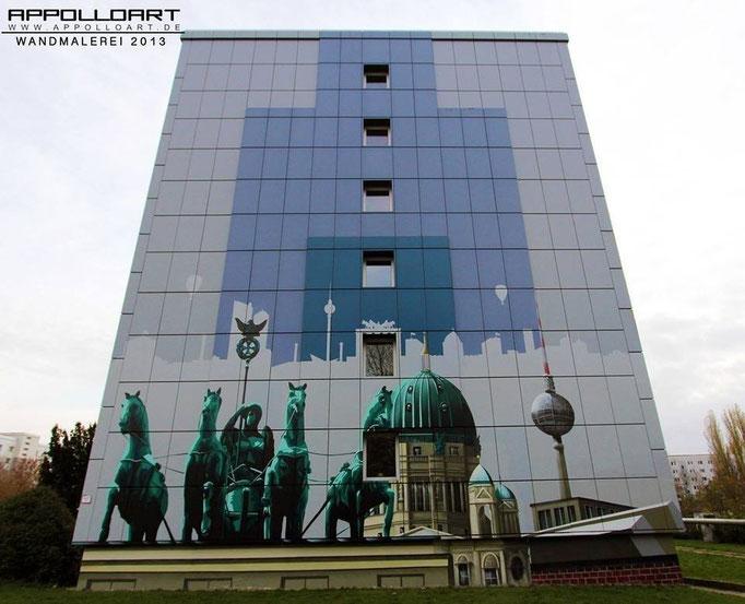 Werbung auf der Fassade Fassadenwand mit Werbemalerei