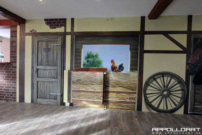 Bauerhof mit Graffiti wandbildern neu gestalten Illusion im Innenraum