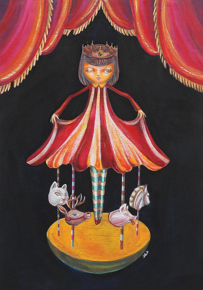 「carousel」アクリル/木製パネル 2014年
