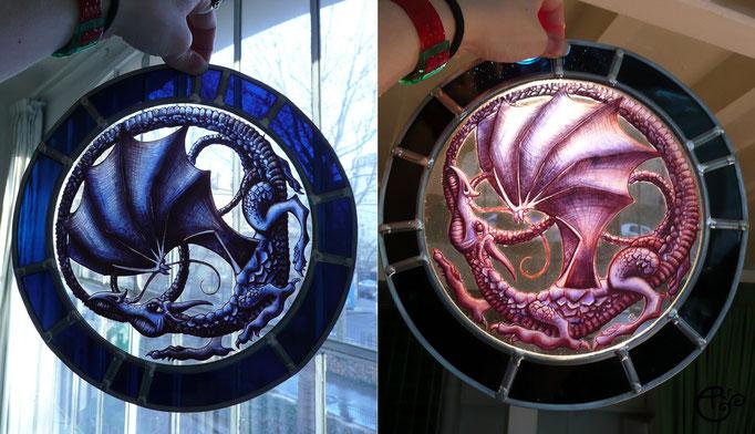 Dragon, peinture sur verre (grisaille).