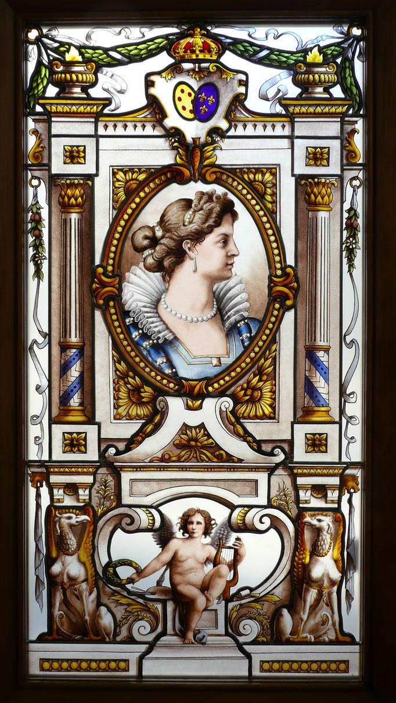 Panneau Lauréat du concours des Meilleurs Ouvriers de France 2015, classe vitraux d'art, option peintre sur verre restaurateur. Portrait de Marie de Médicis