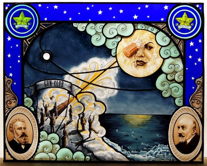 De Verne à Méliès,  technique du vitrail au plomb et Tiffany (cuivre), peinture sur verre (grisailles et émaux), gravure sur verre plaqué.