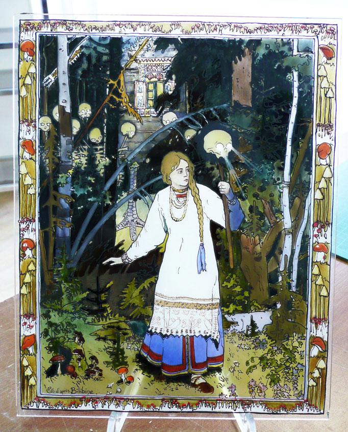 Illustration du conte de Baba Yaga par Bilibine, peinture sur verre (grisailles et émaux)