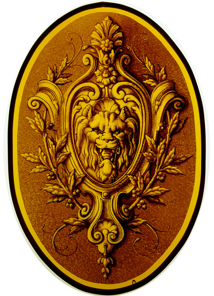 Motif Renaissance, peinture sur verre (grisaille).