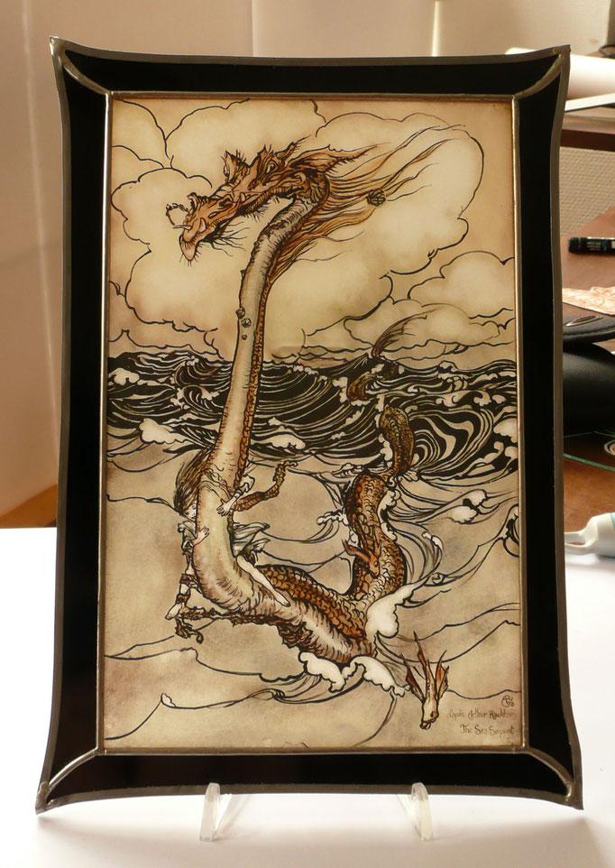 The Sea Serpent , Arthur Rackham, peinture sur verre (grisailles).