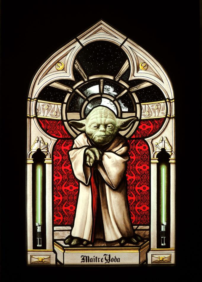 Maitre Yoda, technique du vitrail traditionnel au plomb et peinture sur verre (grisailles et émaux).