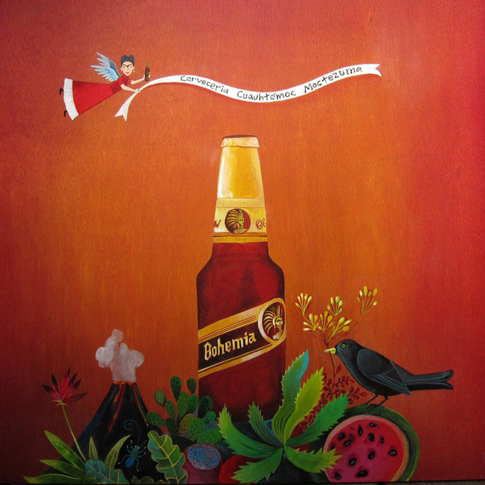 Frida Bohemia | 24 x 24 Acrylic on wood panel | property of Cervecería Cuauhtémoc Moctezuma / Heineken México