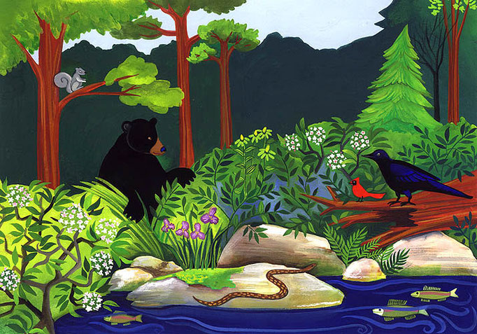 Bear Creek | Gouache on pape | 8x10 | available as 5x7 card