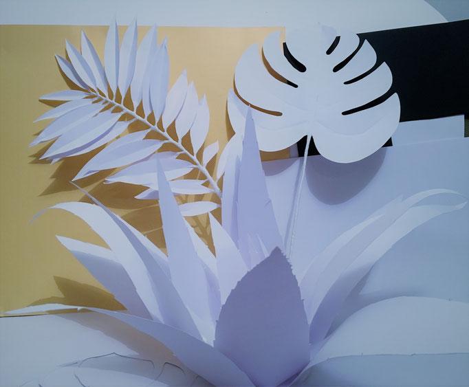 Art papier sculpture décoration vitrine atelier Maria Salvador