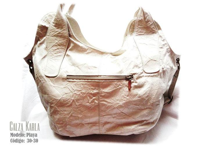 bolso de cuero beige