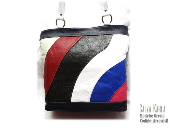 bolso de cuero de colores