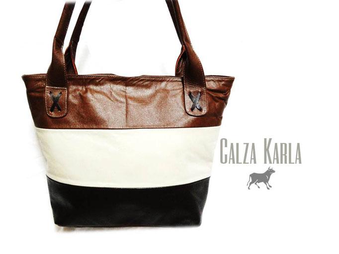 bolso de cuero cafe blanco negro