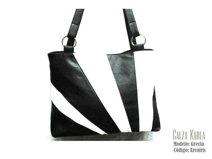 bolso de cuero blanco & negro