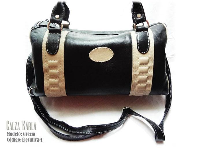 bolso de cuero negro & beige