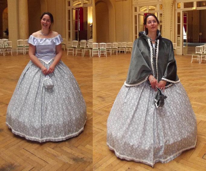 Robe second empire avec sa cape en velours - Fêtes de Napoléon III avril 2014 à Vichy - Nathalie Navarro Créations