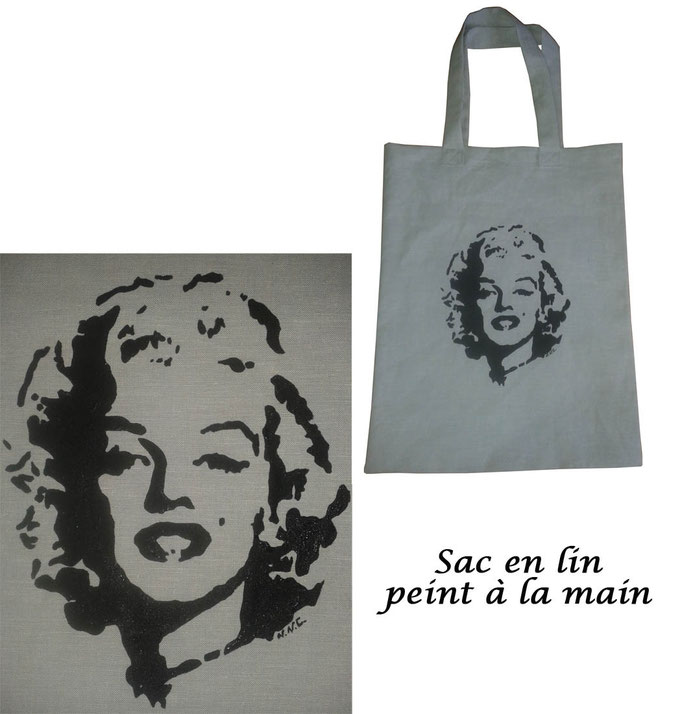 Sac en lin Marilyn Monroe peint à la main - Nathalie Navarro Créations