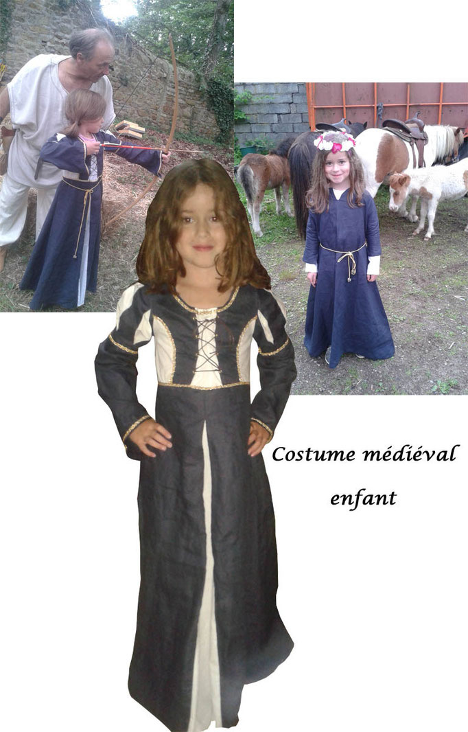 Robe médiévale enfant en lin bleu et coton blanc - Nathalie Navarro Créations
