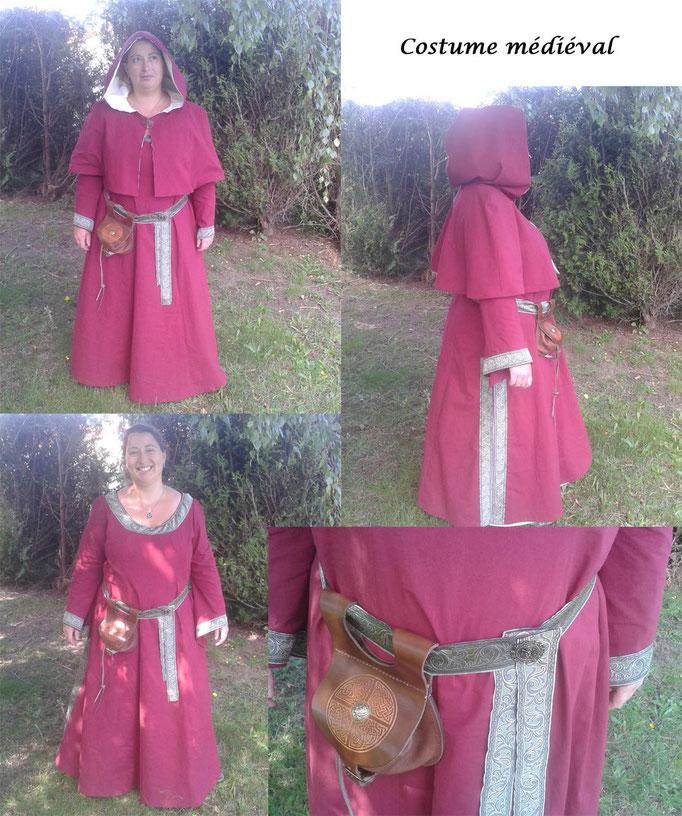 Robe médiévale femme en coton rouge - Nathalie Navarro Créations