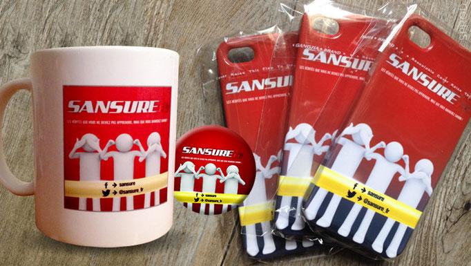 Mug, badge et coque // Sansure