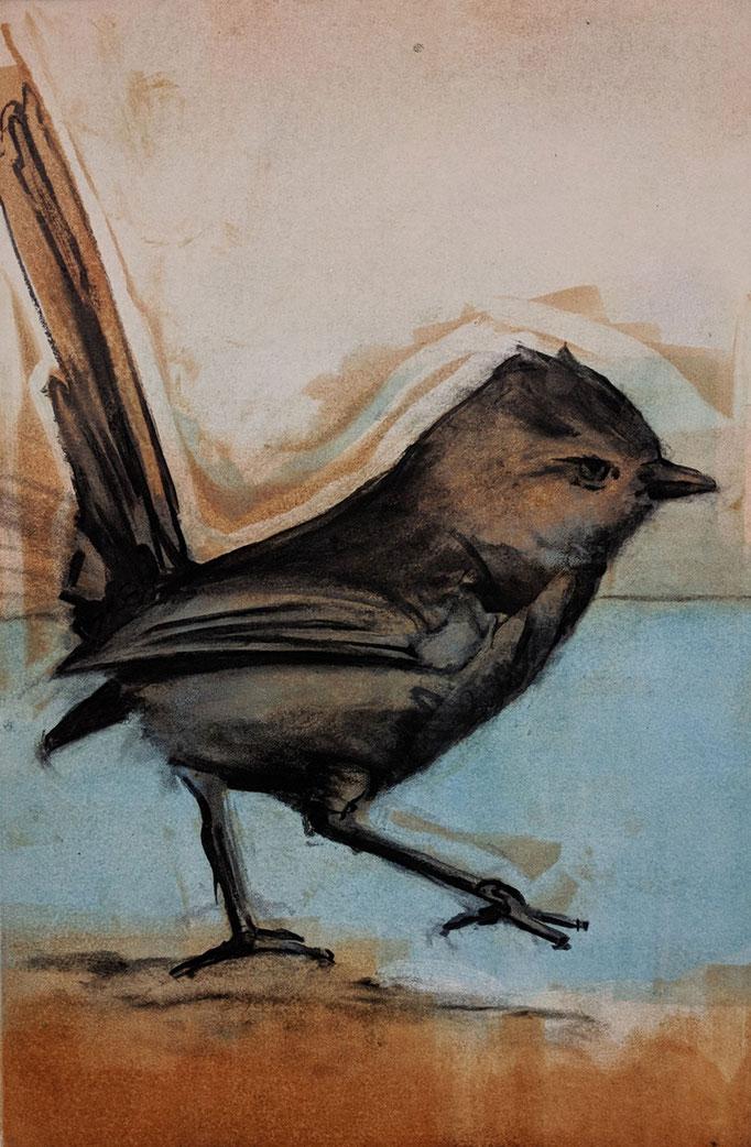"""Bird Attitude"" monotype/charcoal, 24x18, 2018, $700"