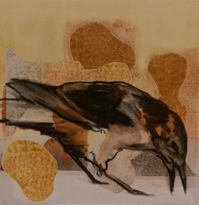 """""""Crow"""" 16x16, monotype and charcoal, SOLD"""