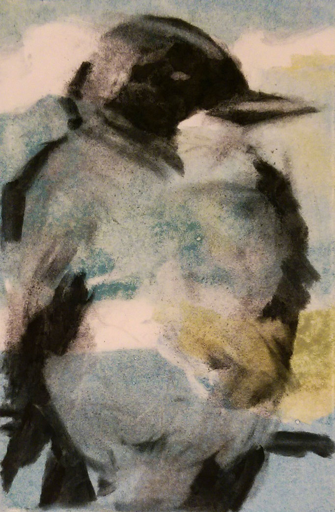 """Chickadee"" 14x11, monotype and charcoal, SOLD"
