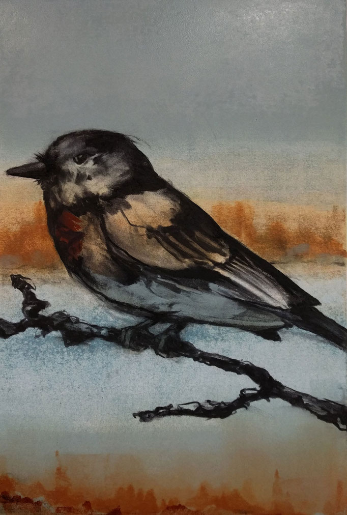 """""""Eagle Eye"""" monotype/charcoal, 24x18, 2018, $700"""