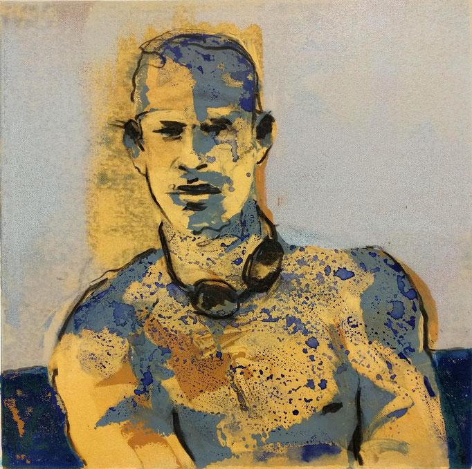 """Marathon Man"", monotype, charcoal, watercolor, 16x16, 2018, $650"