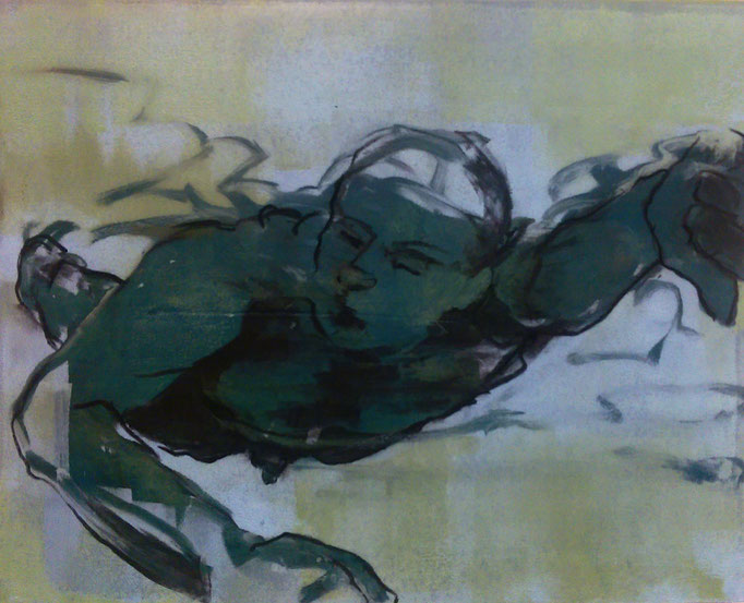 """Swimmer, green"" monotype/charcoal, 18x18"