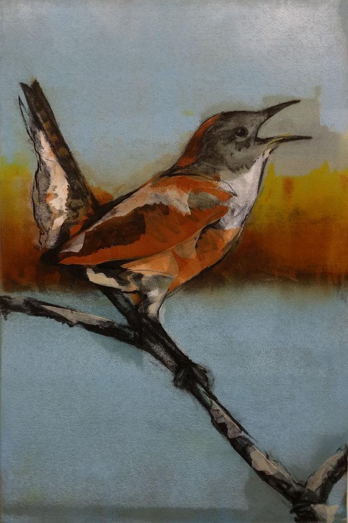 """Fire Bird"" monotype/charcoal, 24x18, 2018, $700"