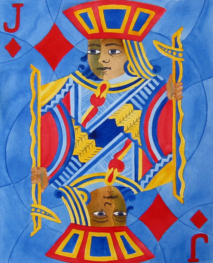 Jack Of Diamonds   16x20 watercolour on canvas    $ 200. CAD unframed . To purchase or view, please contact artist.