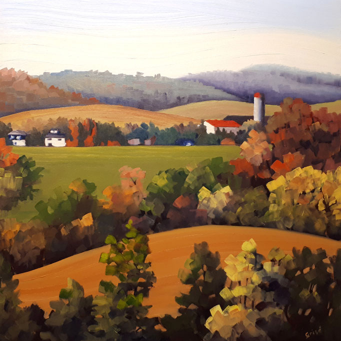 Rolling Hills     24x24 oil on gallery canvas      ON LOAN  This piece is currently on loan to the MacLaren Art Centre, Barrie until Feb 2019