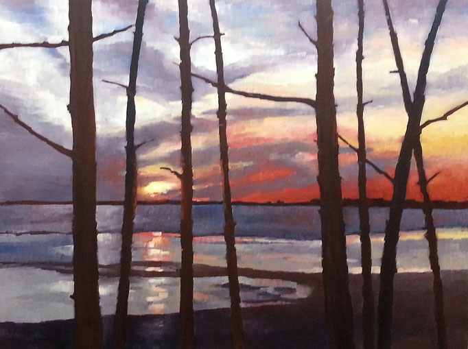 Home And Away     48x36 oil on birch box panel. This piece is on exhibit at the Colborne Street Gallery by Tim & Chris, Fenelon Falls