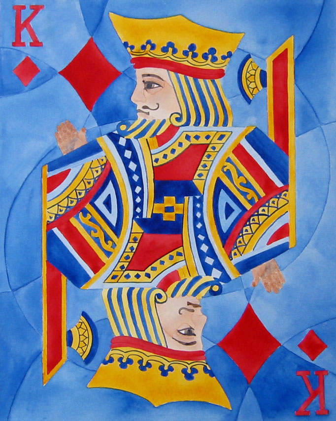 King Of Diamonds   16x20 watercolour on canvas    $ 200. CAD unframed . To purchase or view, please contact artist.
