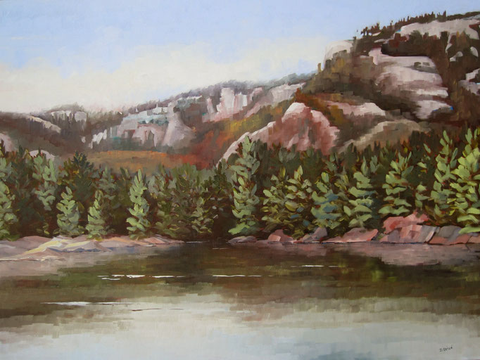 A.Y. Jackson Lake (Killarney)  40x30 oil on gallery canvas.  This piece is on exhibit at the Colborne Street Gallery by Tim & Chris, Fenelon Falls