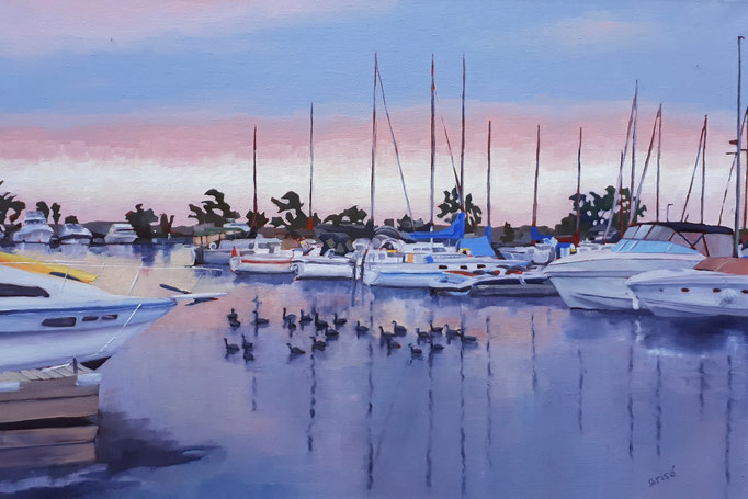 Evening At The Marina     36x24 oil on gallery canvas.      1800. CA   18x14 oil    To purchase or view, please contact me.