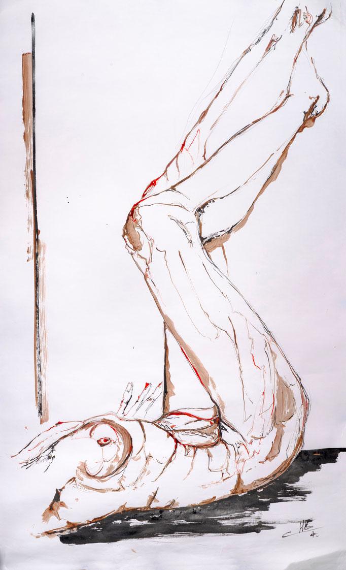 Abusée, encre et sanguine, papier, 120/60cm