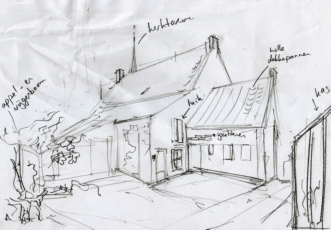 De allereerste schets van het huisportret