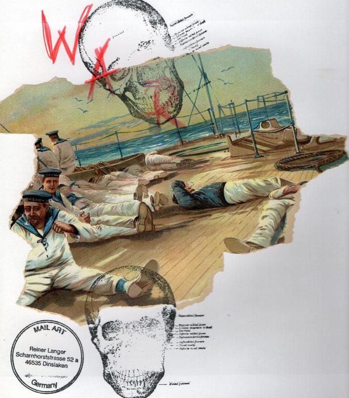 """AUSGEHENDE MAIL - ART PROJEKT """" WAR """" by Reiner Langer  to/ an Mona Schwe"""